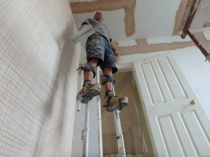 A novel way to plaster the ceiling at Chiswick W4 Kitchen Extension
