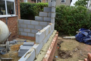 Foundations dug and filled – Up goes the brick & block work in Acton W3